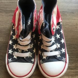 Stars and Stripes. Hi-Top Converse. Size 8